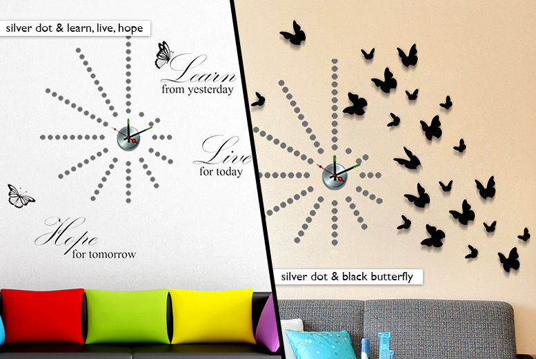 £12.99 for a sticker wall clock from Wowcher Direct - choose from 7 designs