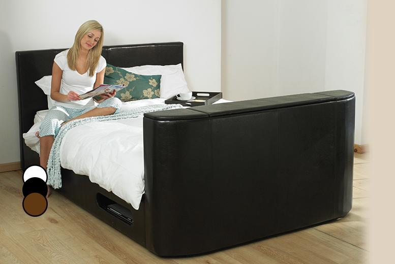 £299 for a double Hollywood faux leather TV bed, £349 for king size or £399 for super king size from Wowcher Direct - save up to 47%