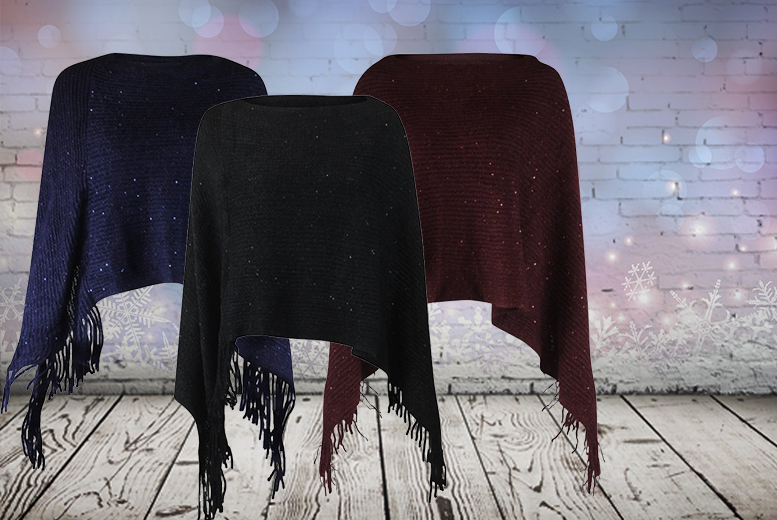 £9 instead of £49.99 (from Beautyfit) for a women's fringed sequin poncho in your choice of 3 colours - save 82%