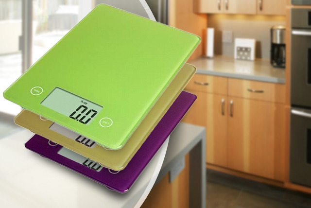 £14.99 instead of £39.99 (from Camelot) for digital, glass kitchen scales in a range of colours - save an a-weigh-zing 63%
