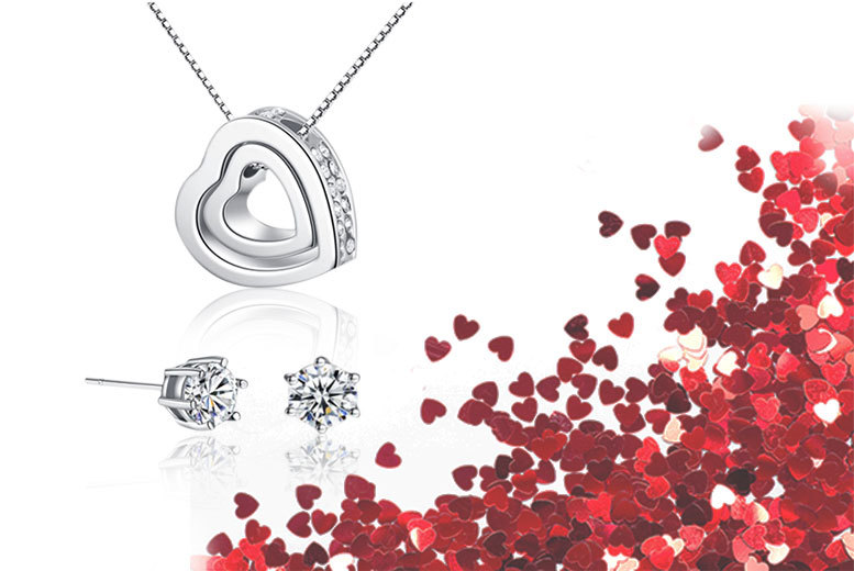 £9 instead of £89 (Your Ideal Gift) for a double heart pendant necklace and earrings set made with crystals by Swarovski - save 90%