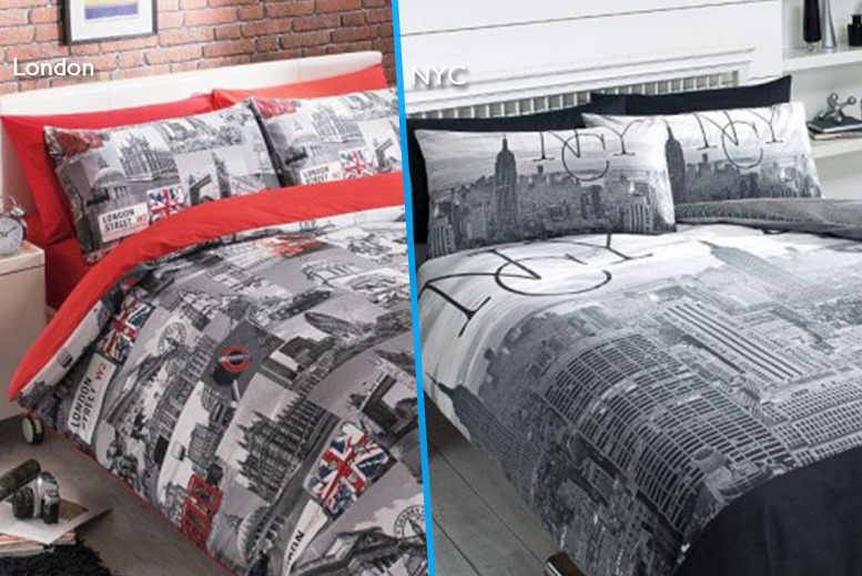 £12 instead of £44.99 (from Your Essential Store) for a double New York or London duvet and pillowcase set, £14 for king size - save up to 73%