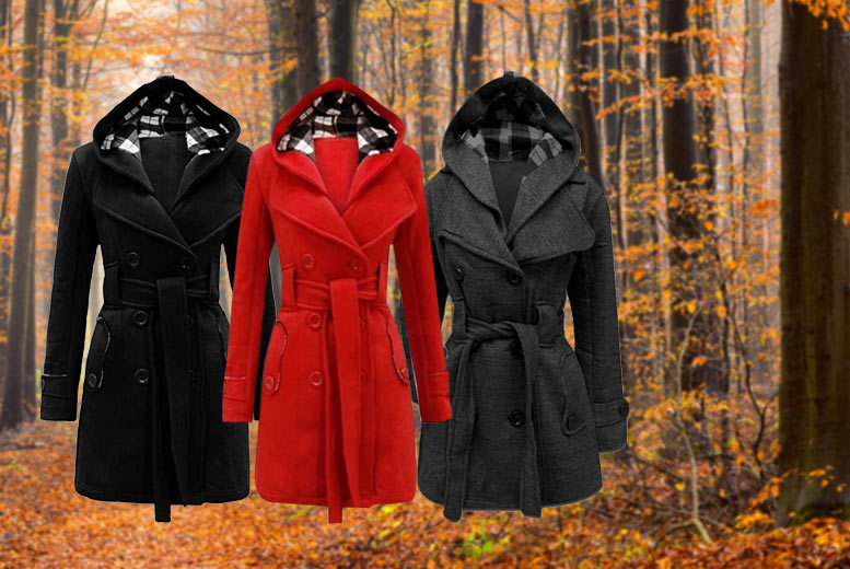 £22 instead of £79.99 (from Flirty Wardrobe) for a hooded trench coat - choose from three colours and save 72%
