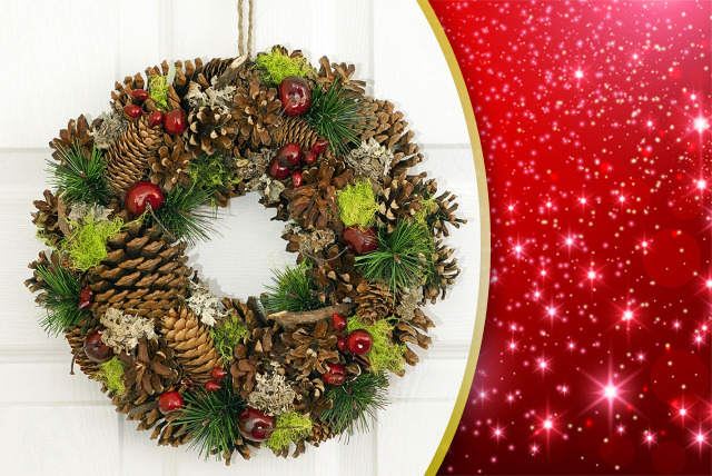 £14.99 (from Debenhams Flowers) for a frosted pinecone or red berry and pinecone wreath