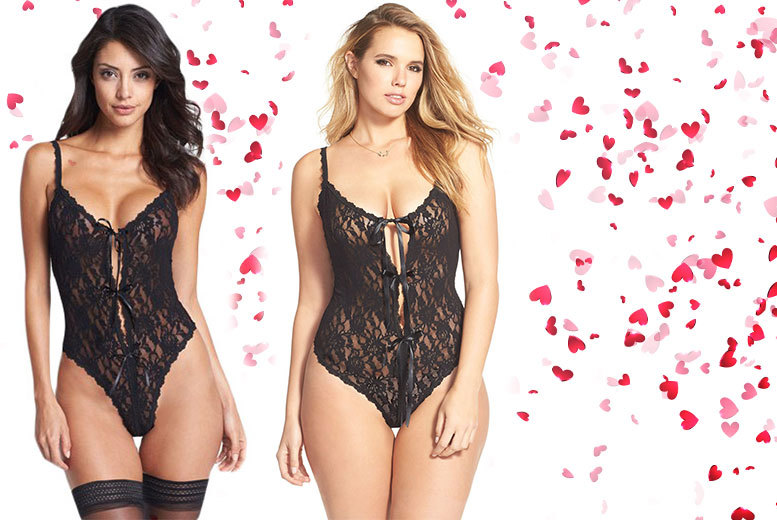 £10 instead of £34.99 (from Who Runs The World) for a black lace open-gusset teddy - choose from five sizes and and save 71%