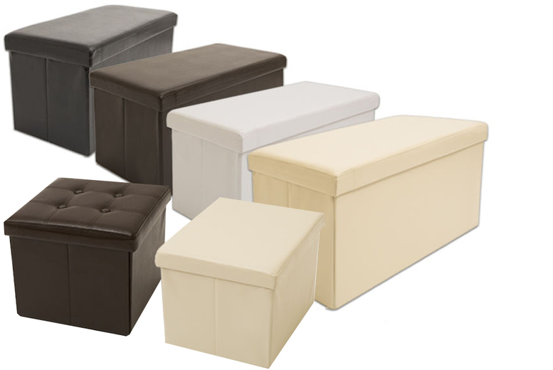 Image of From £8.99 for an ottoman storage cube or two-seater folding ottoman storage bench (£12.99) in a range of colours from Ckent Ltd - save up to 47%