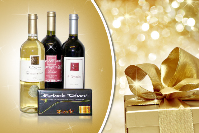 £24 instead of £60 (from Grand Manger) for a Christmas hamper including 3 bottles of wine and 1 bar of  Black River Jamaican chocolate - save 60%