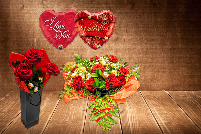 £16 for 3 red roses, a helium balloon and Ferrero Rocher chocolates, £22 for 6 roses, £29 for 12 from Party Express London - save up to 47%