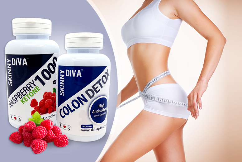 £14.99 (from Skinny Diva) for a 2-month* supply of raspberry ketone and colon detox capsules, £29.99 for a 4-month* supply - save up to 70%
