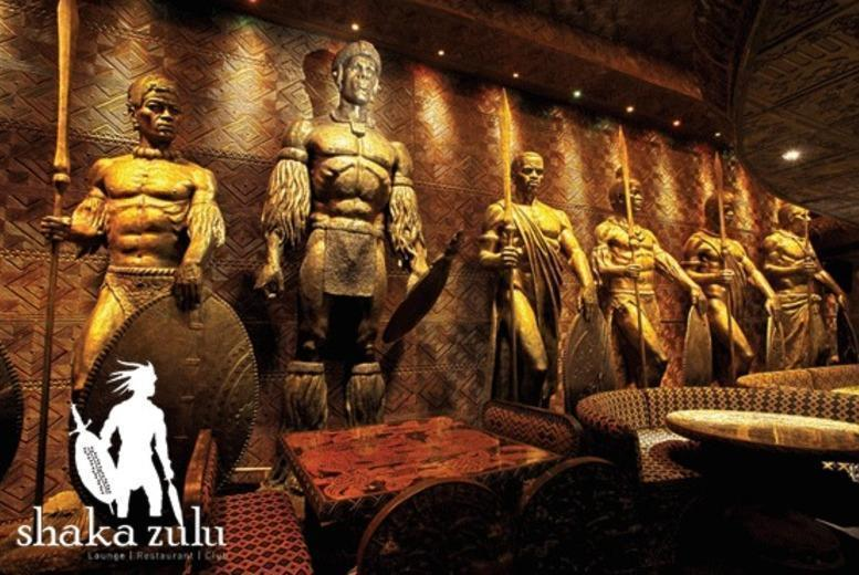 £49 instead of up to £98 for a three-course meal and Champagne cocktails for two at celebrity hangout Shaka Zulu, Camden Town from Buyagift - save up to 50%
