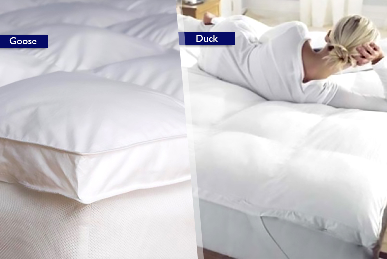 From £24.99 (from Groundlevel.co.uk) for a duck feather and down mattress topper, from £29.99 for goose feather and down - save up to 69%