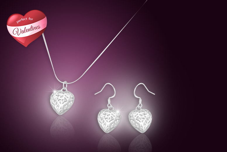 £12 instead of £69.99 (from Your Ideal Gift) for a silver-plated filigree heart pendant and earrings set - save 83%