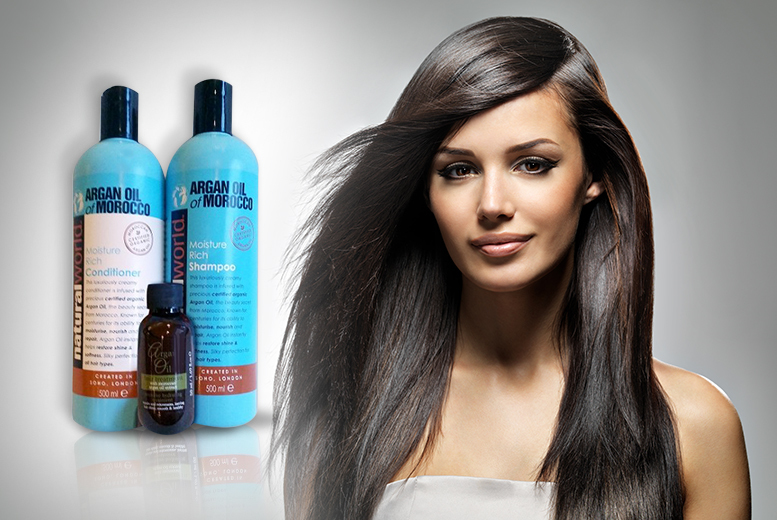 £9.98 instead of £39.99 (from SalonBoxed) for a 3-piece Argan Oil of Morocco hair care set - save a shiny 75%