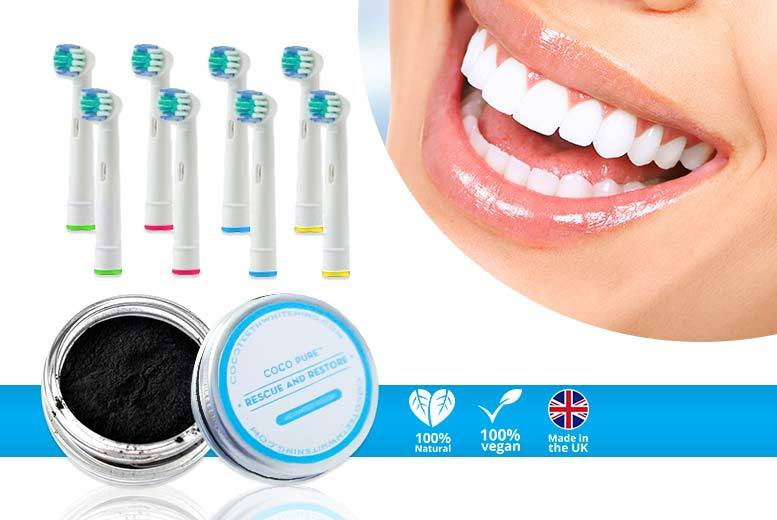 £6.99 instead of £39.99 (from Home Lounge) for eight Oral-B compatible toothbrush heads and activated-charcoal whitening powder - save 83%