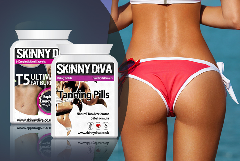 £16 instead of £148.97 (from Skinny Diva) for a two-month* supply of 'Fast Tan' and T5 'Fat Burners' - save 89%
