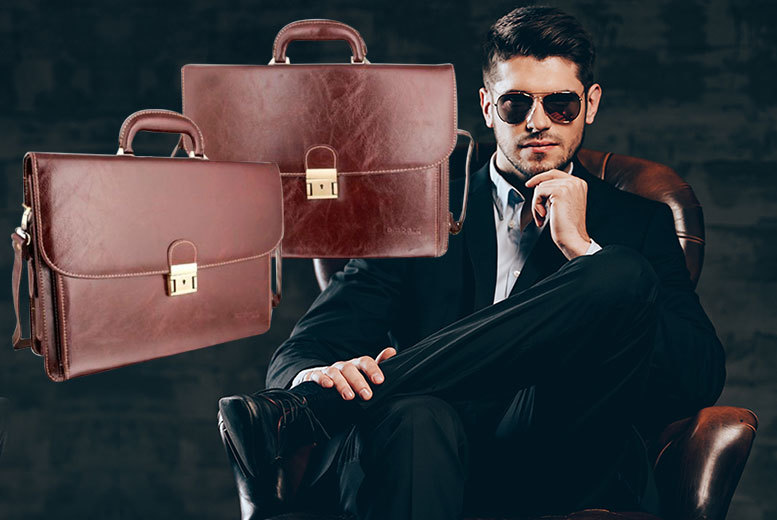 £25 instead of £136 (from Woodland Leather) for a men's leather briefcase – choose from two colours and save 82%