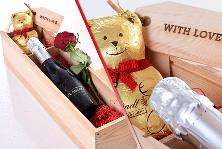 £29 instead of £60 for a Valentine's hamper containing Prosecco, a Lindt chocolate bear and red rose from Nostalgic Campers - save a starry-eyed 52%