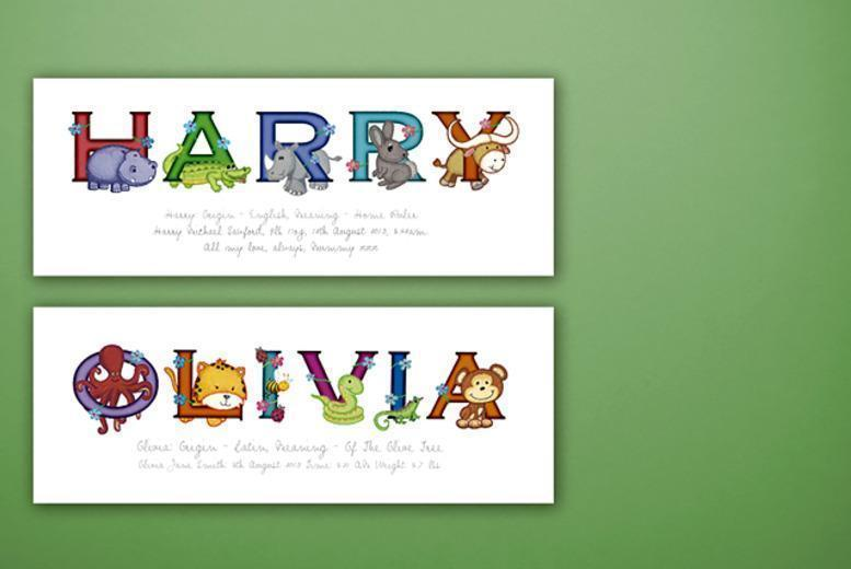 £6.99 instead of £25 (from Frame My Name) for a children's personalised animal name print - save 72%