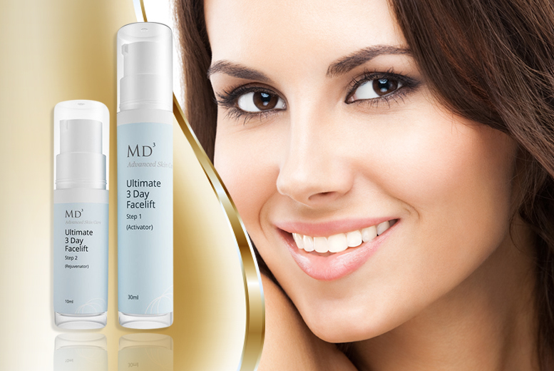 £12 instead of £69.99 (from Look Good Feel Fabulous) for a 2-piece MD3 Skincare '3-Day Facelift' kit - save 83%