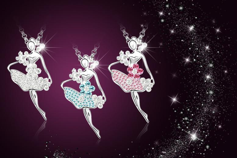 £9 instead of £58 (from Evoked Design) for a white gold-plated ballerina necklace made with clear, blue or pink Swarovski Elements crystals - save 84%