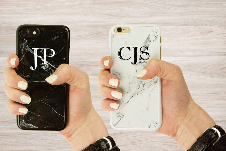 £4.99 instead of £19.99 (from TLD Retail) for a personalised marble-effect iPhone 4, 4s, 5s, 5c, 6, 6 Plus, 7 or 7 Plus case - choose white or black and save 75%