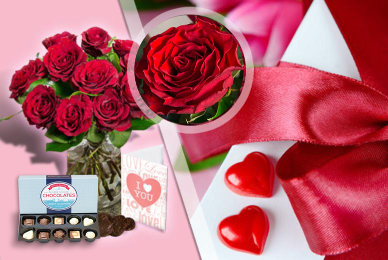£24 instead of £49.90 (from iFlorist) for 12 red roses, box of chocolates & a personalised Valentine's card, £32 for 24 roses - save up to 52%