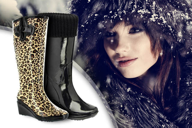 £17.95 instead of £59.99 (from Dallas House) for a pair of black or leopard print heeled wellies – save a stylish 70%