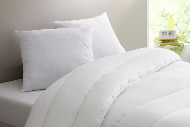 £14.99 (from Home Furnishings Company) for a 15 tog winter duvet and four pillows, £17.99 for a double, £21.99 for a king, or £23.99 for a super king - save up to 74%