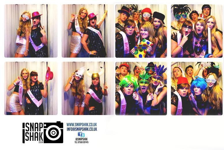 £199 for 3-hr photobooth hire inc. 'unlimited' photos, digital copies and props, £799 for 7 hrs with 200 photos and DJ hire from SnapShak - save up to 62%