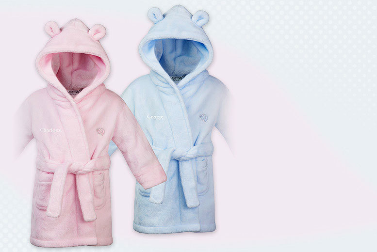 £8.99 instead of £21.99 (from Treats on Trend) for a children's personalised robe - choose from pink or blue and save 59%