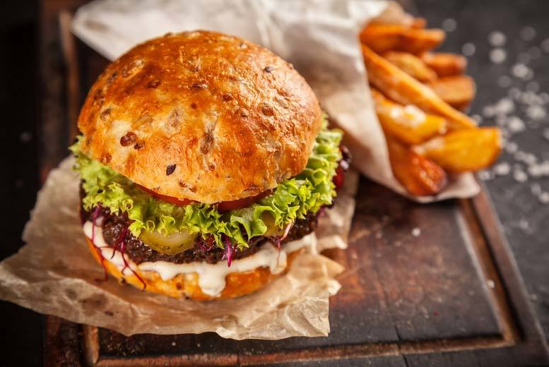 £12 instead of £23.80 for a burger meal for two people plus a glass of wine each at Chequers Bar and Grill, Sauchiehall Street - save 50%