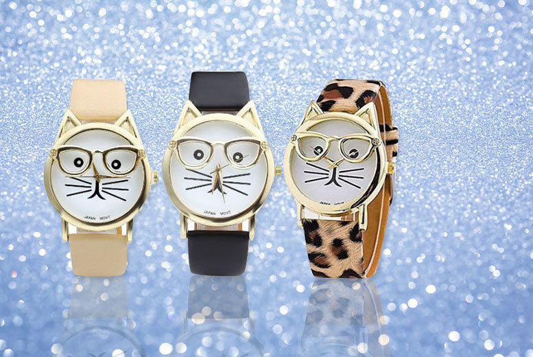 £6 instead of £24 (from Styled By) for a women's 'cat geek' watch - choose from leopard print, black or cream and save 75%