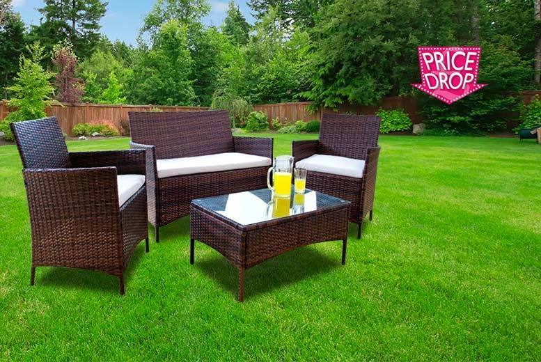 £109 (from Dining Tables) for a four-piece brown rattan garden furniture set, with a limited number available for £89 - save up to 84%