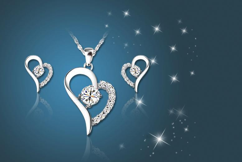 £12 instead of £129.99 (from Your Ideal Gift) for an 18k white gold plated heart pendant and earring set made with Swarovski Elements - save 91%