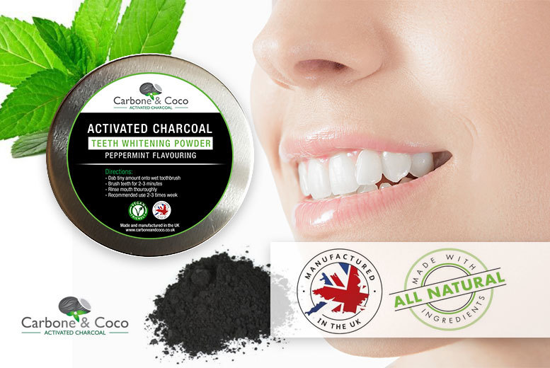£4.99 instead of £29.99 (from Carbone & Coco)  for a 30ml tub of Carbone & Coco™ charcoal teeth whitening powder - save 83%