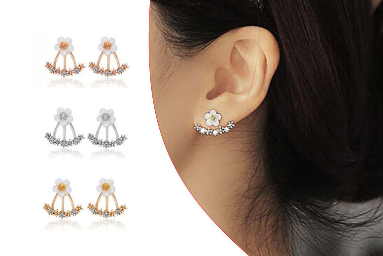 £4.99 instead of £39 (from Fakurma) for a pair of double crystal flower earrings - choose rose gold, gold or silver-plated and save 87%