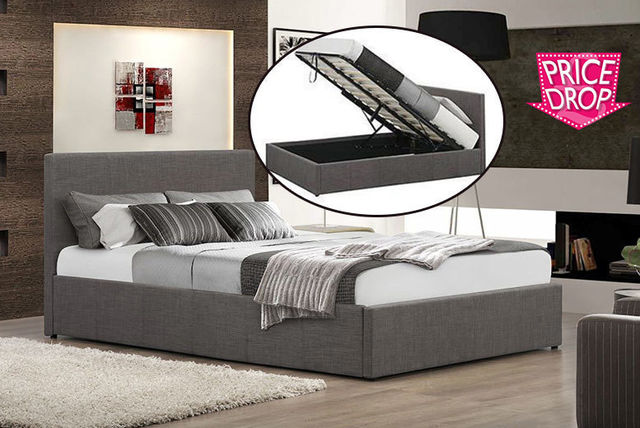 Fabric Ottoman Gas Lift Storage Bed