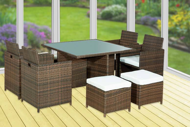£279 instead of £699.99 (from Alexander Morgan) for a brown nine-piece rattan garden dining set - save 60%