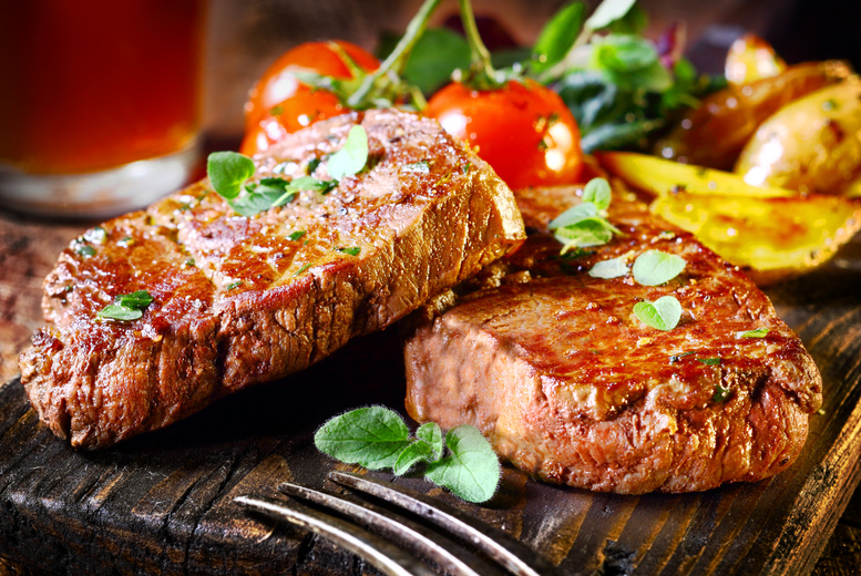 £19.99 for a sirloin steak meal for 2 inc. a bottle of house wine to share, £39 for 4 at The Sun Inn, Cottesmore
