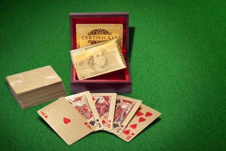 £9 instead of £39.99 (from London Exchainstore) for a pack of 24k gold-plated playing cards - come up trumps and save 77%