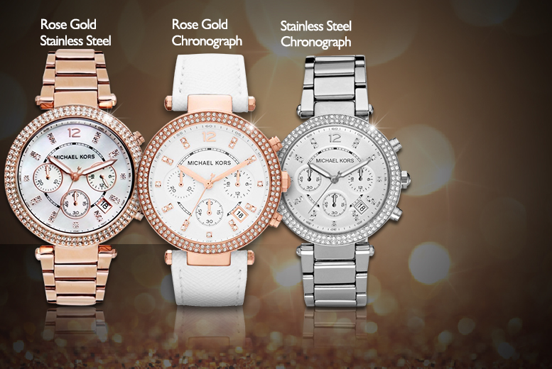 From £119 (from Shop On Time) for a ladies' Michael Kors bracelet watch made with Swarovski Elements - choose from 6 designs & save up to 50%