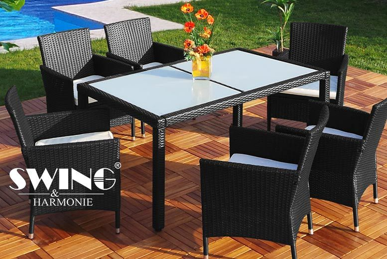 £299 instead of £1028.96 (from Viron Motors) for a dining table, six chairs and six cushions - choose black or brown and save 71%