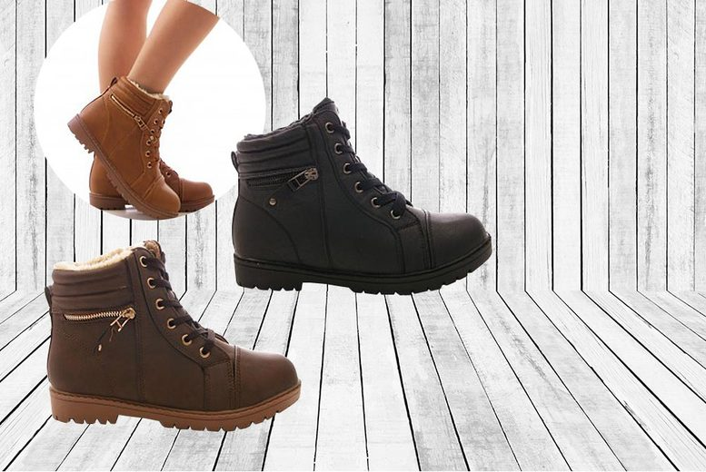 £14 instead of £47 for a ladies faux leather ankle boots in black brown or tan from MY UL Ltd  save 70