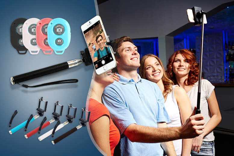 £7 instead of £19.99 (from SA Products) for a selfie stick, £9 with a Bluetooth remote control - save up to 65%
