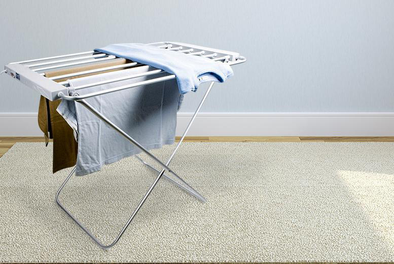£26.99 instead of £89.99 (from Groundlevel.co.uk) for a freestanding heated clothes rail or £36.99 for an extra-large dryer – save up to 70%