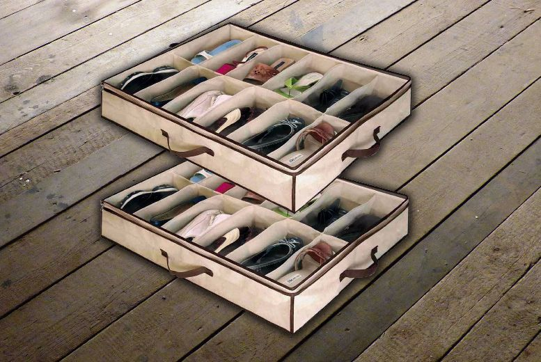Image of £1.99 instead of £9.99 for an under bed shoe storage organiser that stores up to 12 pairs from Ckent Ltd - save 80%