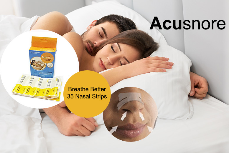 £5 instead of £17 (from Forever Cosmetics) for a pack of 35 Acusnore antisnoring nasal congestion strips  save 71