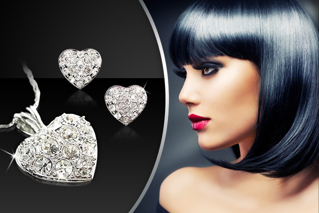 £15 instead of £89 (from Aspire) for a white gold-plated sparkly heart set including a necklace and earrings - save 83%