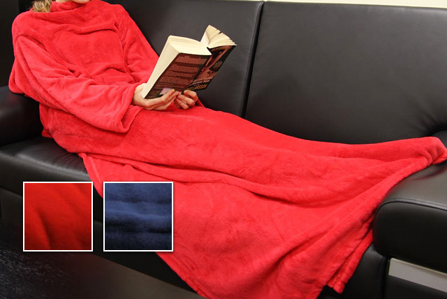 £5.99 for a sleeved blanket in red or blue from Global Shoppers - stay warm this winter
