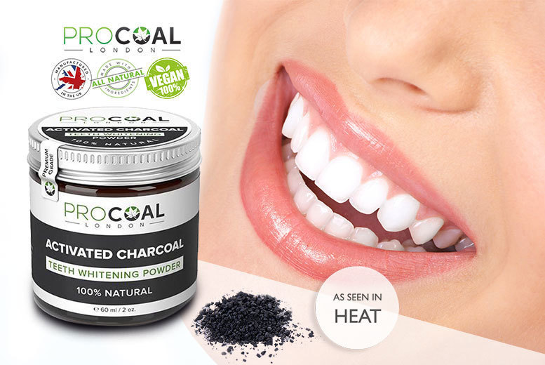 £7 instead of £19.99 (from Procoal) for a 60ml tin of 100% natural activated charcoal teeth whitening powder - save 65%